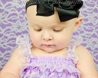 Baby Headband, Bow Headband, Infant Headband, Newborn Headband - Black Boutique Bow Headband, Headband,Bow on Fold over elastic