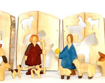 Farmhouse, Farmer, his wife and animals, carved from one tree log,