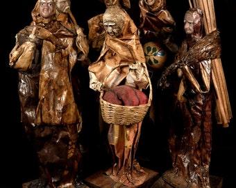 Folk Art Figurines Paper Mache Figures Mexican Set 6