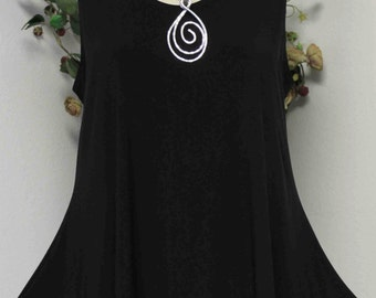 Dare2bstylish New Asymmetrical Sleevless Travelers Tunic Small to 3XL. Black color. Plus and Regular Size.