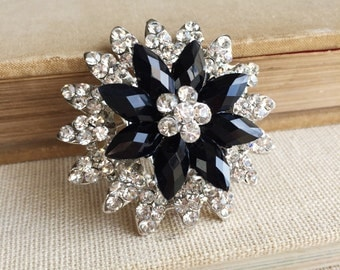 Black and white, Black bridal, Brooch black, Black white wedding, black jewelry, Bridal brooch pin jewelry Rhinestone
