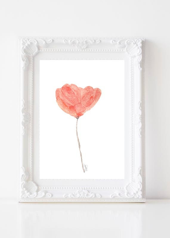 Coral Watercolor Flower Print, 5x7, 8x10 in 4 colors