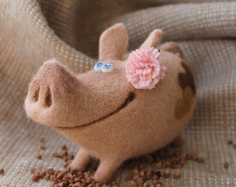 Needle Felted Toy -  Pig - Felt Toys