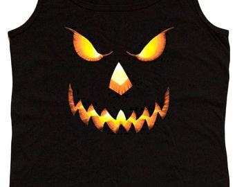 Ladies black tank top / Jack o Lantern Halloween pumpkin design