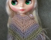 Fringe Edged Poncho  for Blythe Doll.  Choose your colorway Shown in Springtime  Clothes Crochet Outfit