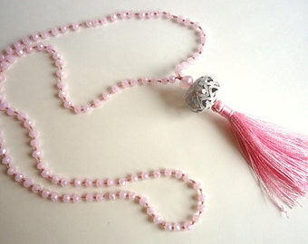 Tassel necklace, Baby Pink necklace, Blush Pink necklace, Rosary necklace, boho necklace, pale pink necklace, spring trends 2018