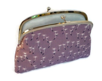 Dandelion coin purse with 2 compartment sections in mauve and grey cotton, make a wish, kiss lock wallet