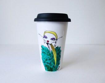 Travel Mug with Fashion Illustration, Eco-friendly Cup, Thermal Double-wall Porcelain Hand painted Travel Mug Custom mug