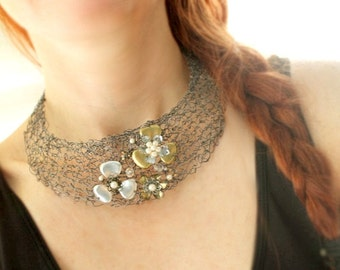 Metal Flower Necklace, Bib Statement, Silver Plated Hematite Wire, Flower Jewelry, Wire Collar Necklace, Jewelry Affaire, One-of-a-Kind