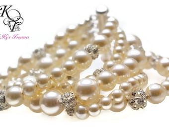 Bridal Bracelet, Bridesmaid Bracelet, Cuff Bracelet, Pearl Bracelet, Bridesmaid Jewelry, Wedding Jewelry, Bridesmaid Gift, Bride, Bridesmaid