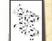 "Geometric Art Tangram Black & White. Abstract Wall Art A3. Scandinavian design inspired poster. ""Footprints"", by TANGRAMartworks"