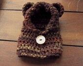 crochet bear hoodie in sepia (3-6 months)