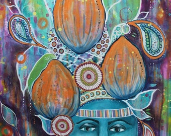 16''x24'' original mixed-media acrylic painting, tribal art, colorful portrait, orange teal purple