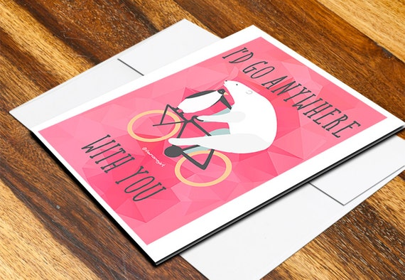 Polar Bear Penguin Bicycle Card w/ Envelope 5 x 7 Blank Inside - Polygon Vintage Inspired Typography Love Friend Valentine Travel