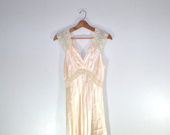 Satin Night Gown Pink Night Gown Long Night Gown Silky Nightgown 1940s Lingerie Valentines Day Gift