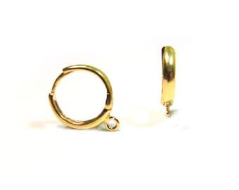 SALE Vermeil Round Lever-back Earwires 6 pcs/ 3 pair 14mm w/ loop Round Huggie Leverback Earwires