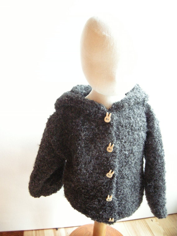 Hooded coat for baby alpaca boucle - natural baby - sizes and colors made to order - free shipping worldwide