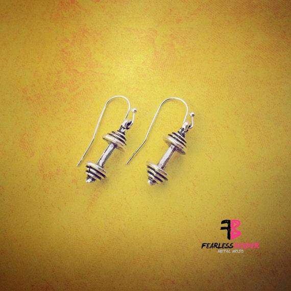 dumbbell earrings weightlifting earrings fitness earrings