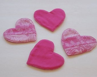 Set of 4 Valentine's Day Heart Shaped Patchwork Fabric Coasters, Gifts under 20