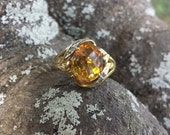 10KT Yellow Gold Citrine and Diamond Ring A273
