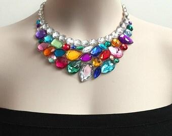 colorful bib necklace - rainbow color rhinestone bib necklace