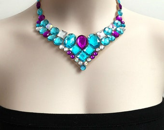 aqua blue, amethyst purple and aurora borealis rhinestone bib necklace