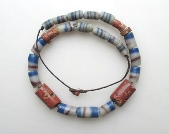 Old antique African necklace 2 big bauxite beads blue white red sandcast beads leather cord
