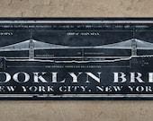 "Brooklyn Bridge METAL Blueprint 24x7"" FREE SHIPPING"