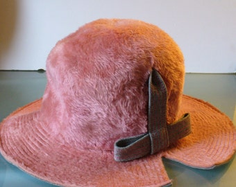 Vintage Mauve Adolfo Realties Brimmed Hat Made in Italy