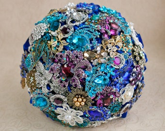Brooch bouquet. Purple, Teal, Royal Blue, Silver and Gold wedding brooch bouquet, Jeweled Bouquet. Made upon request