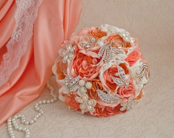 Brooch bouquet. Coral, Ivory and Gold wedding brooch bouquet, Jeweled Bouquet. Made upon request
