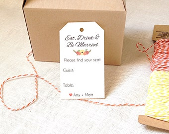 Table Place Cards - Favor Seating Cards - Thank You Tags