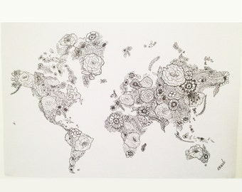 Flower World Map Print from Original Drawing, Art Illustration Wall Home Decor Travel