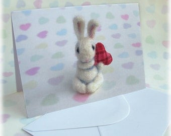 Bunny Valentines Card Mothers Day Easter Spring Wedding Anniversary Cute White Rabbit Greetings Cards Red Heart Springtime Blank Inside