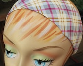 Plaid Headband - White Pink Grey & Mustard Yellow - 100% Cotton