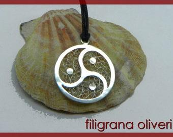 Triskele filigree silver, branded 800/1000 - made in italy