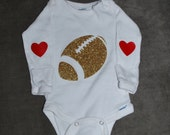 Gold or Silver Sparkly Football onesie with red or pink heart elbow patches for little girls