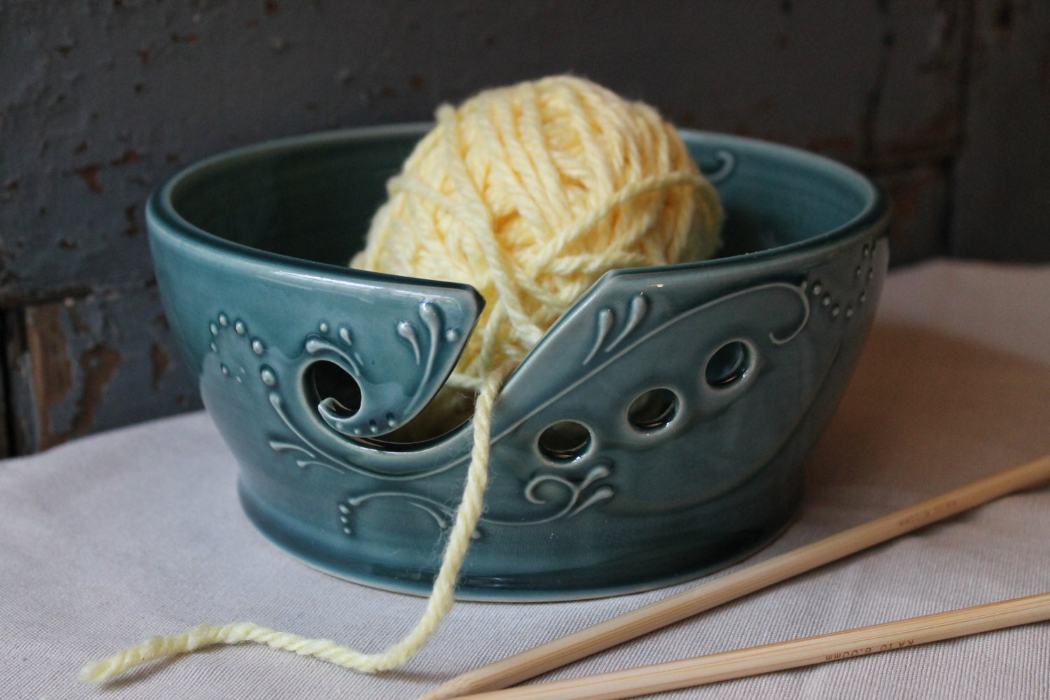 Crochet Yarn Bowl : Yarn Bowl WIDE RIM Crochet Knitting Deep Green by DandelionPottery