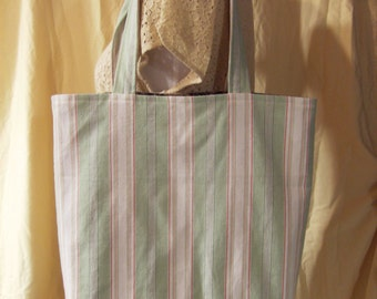 Large Tote Bag - Green, White, & Red Striped Tote - Large Lined Market Tote - Large Book Bag