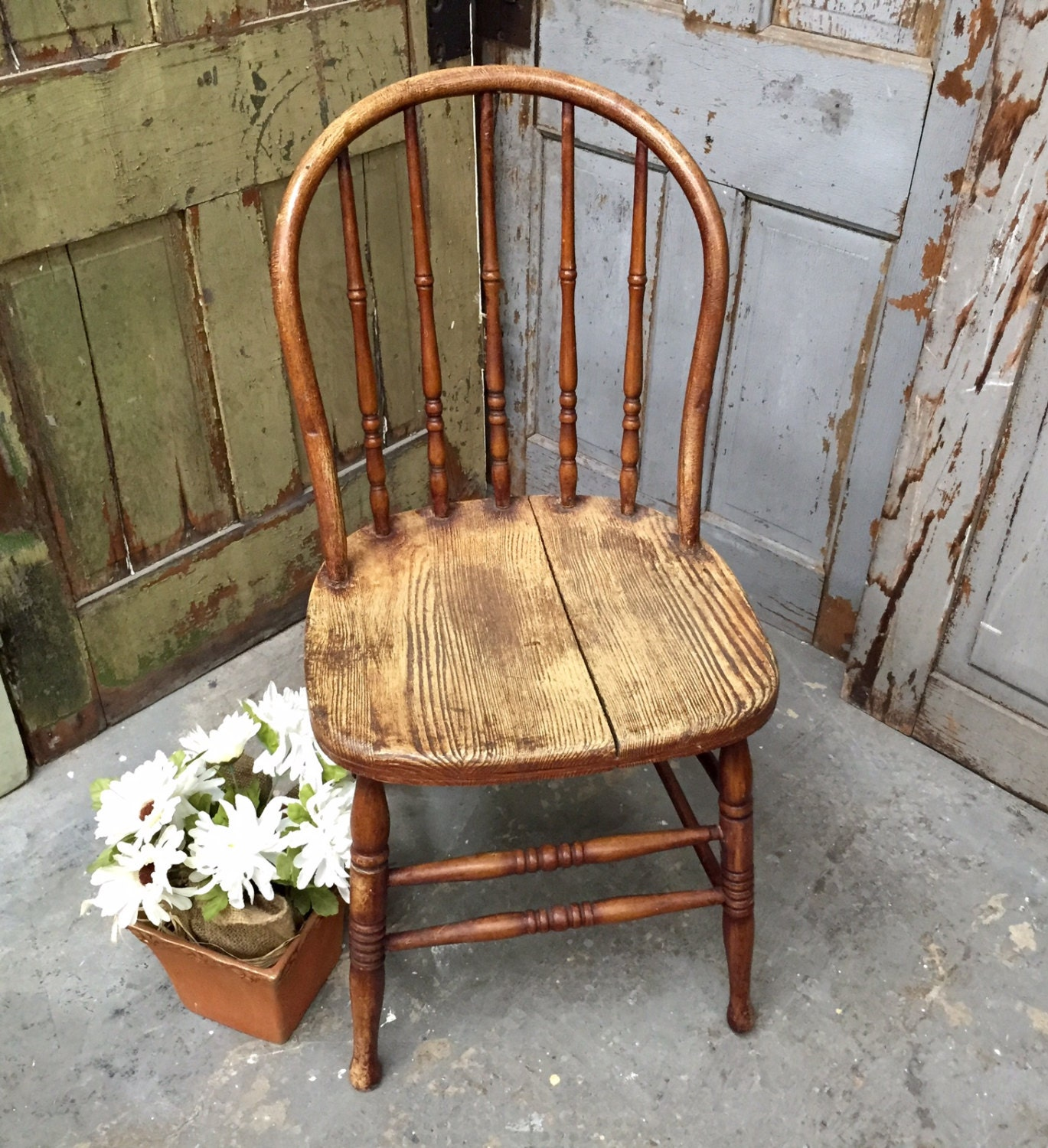 Antique Windsor Chair Rustic Chair Vintage Wooden Chair # Chaise Bois Vintage