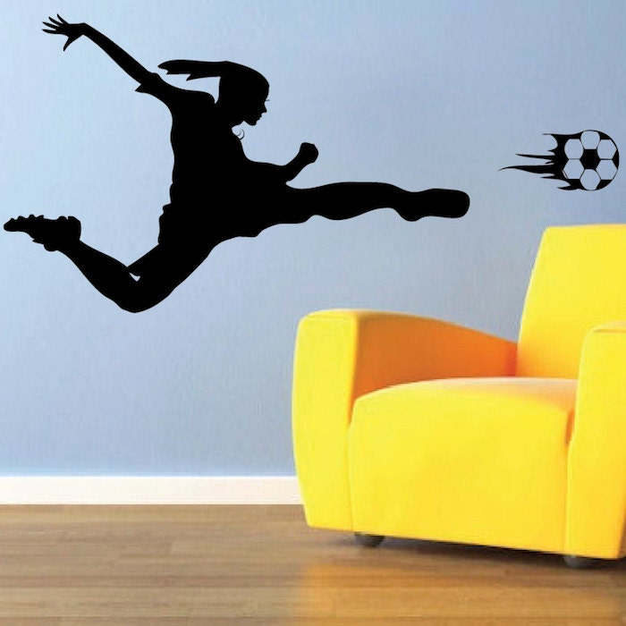 girls soccer wall decal soccer girl bedroom by trendywalldesigns