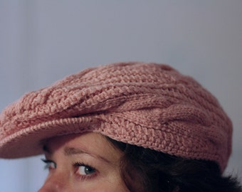 Pink knitted  wool newsboy cap, man and woman hat with vizor, classic casual cap
