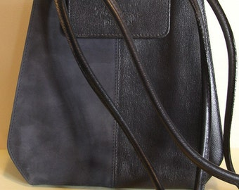 Gorgeous Italian  XL vintage black suède leather tote bag, Bagher, Italy.; vg condition