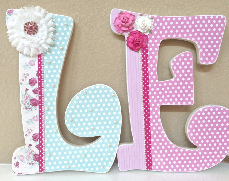 Custom nursery letters baby girl nursery letters by for Baby nursery letters