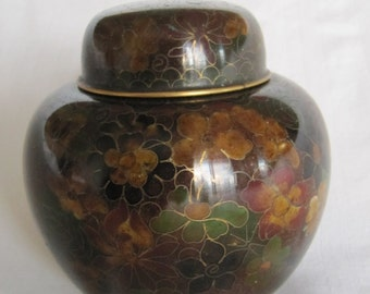 Vintage 70's Cloisonne Lidded Container Earthy Colors