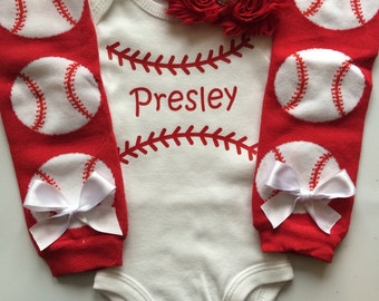 Baby Girl Baseball Outfit - baseball outfit - baseball bodysuit - base ball leg warmers