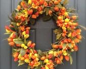 Tulip Wreaths, Spring Tulip Wreaths, Spring Door Decor, Orange Tulips, Mothers Day Gift, Summer Wreaths