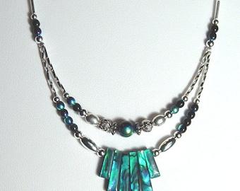 Blue Sea Opal Spike Necklace