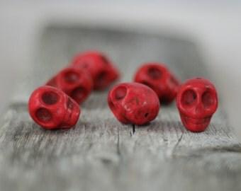 Red  Howlite Skull Beads - Sugar Skull, Day of the Dead beads - 17mm - 6 beads