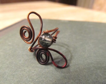Copper Ring Adjustable Wire Wrapped Antique Copper Jewelry Size 9.5 Dark Hammered Metal Rustic Jewelry